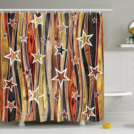 Timber Bath (Ambesonne Rustic Home Vertical Striped Vibrating Decorative Timber Design with Various Star Figures Shower Curtain Set )