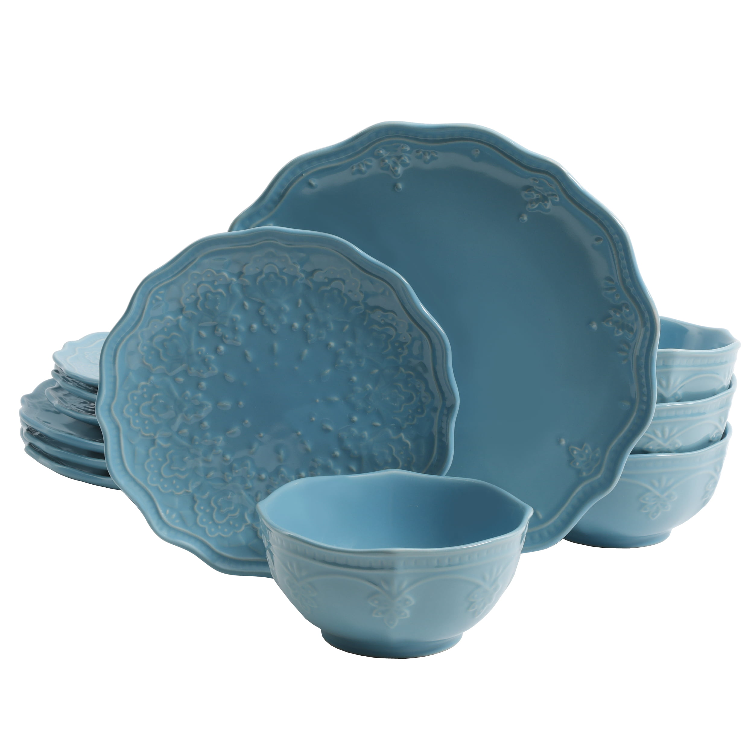 """Pioneer Woman Stoneware Farmhouse Lace 10-3//4/"""" Dinner Plates Ocean Teal TWO NEW"""