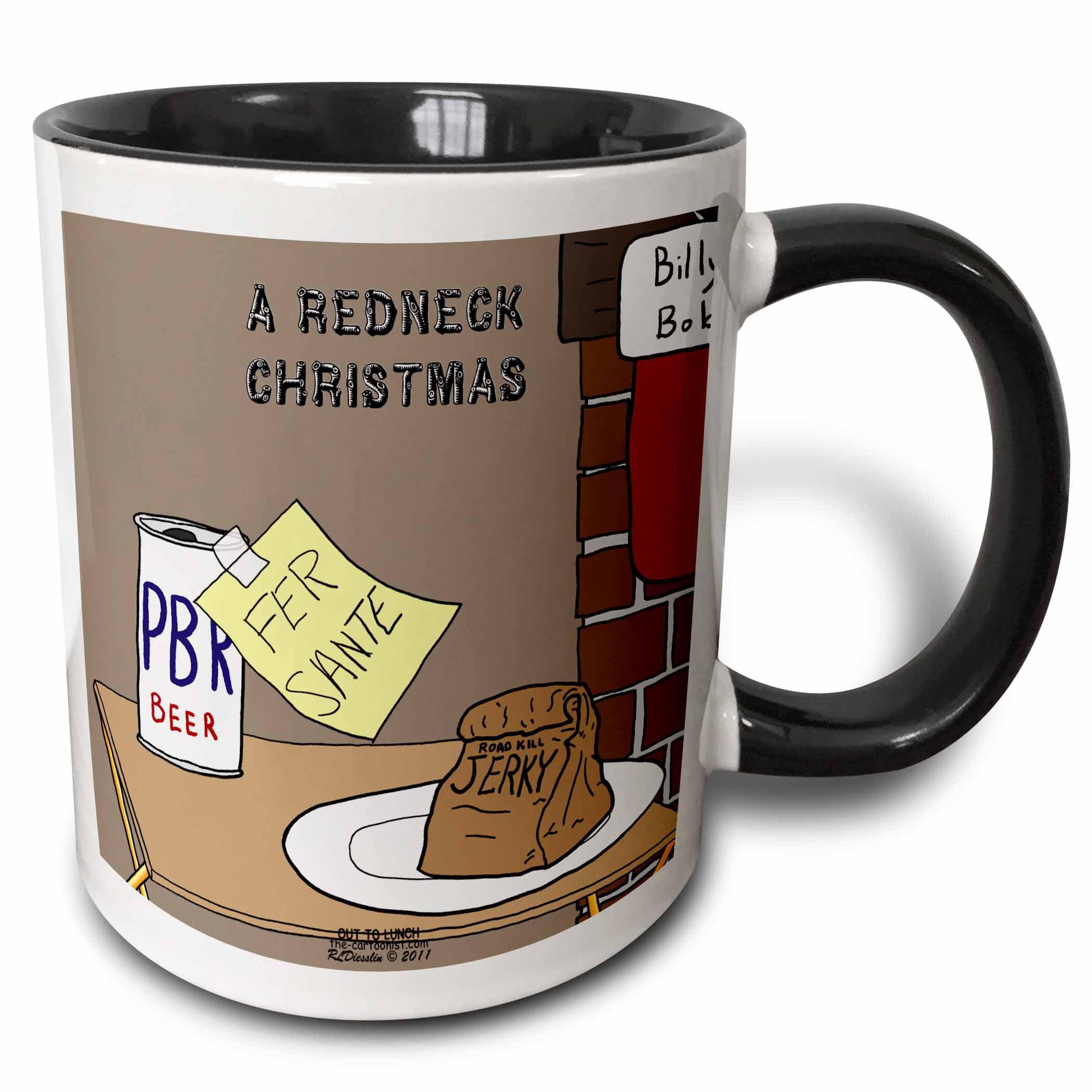 3dRose A redneck christmas eve Santa snack including beer and jerky, Two Tone Black Mug, 11oz