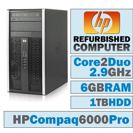 REFURBISHED HP Compaq 6000 Pro MT/Core 2 Duo E7500 @ 2.93 GHz/6GB DDR3/1TB HDD/DVD-RW/No
