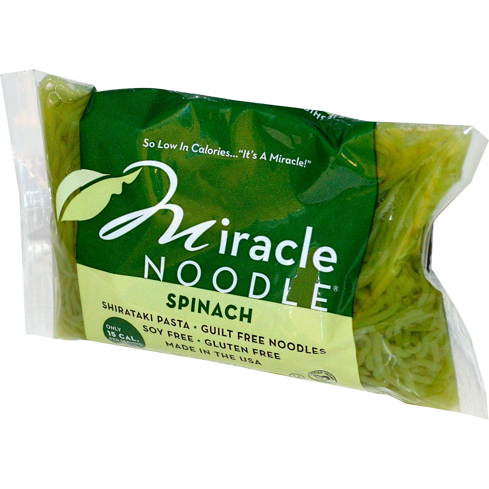 Miracle Noodle, Spinach, Shirataki Pasta, 7 oz (pack of 12)
