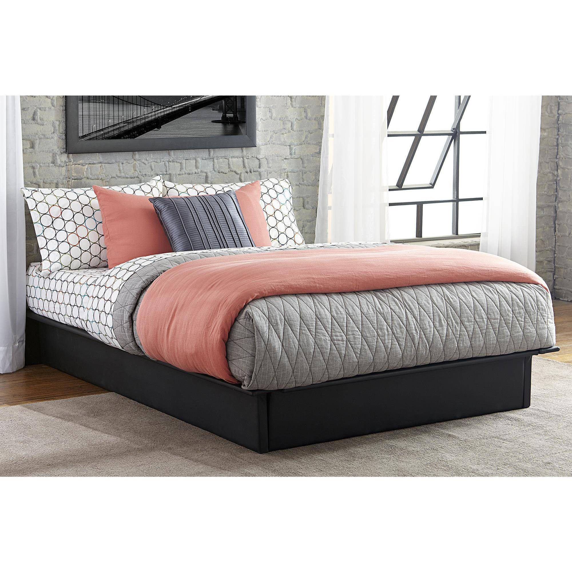 DHP Maven Platform Bed with Upholstered Faux Leather and Wooden Slat Support, Multiple Sizes and Colors