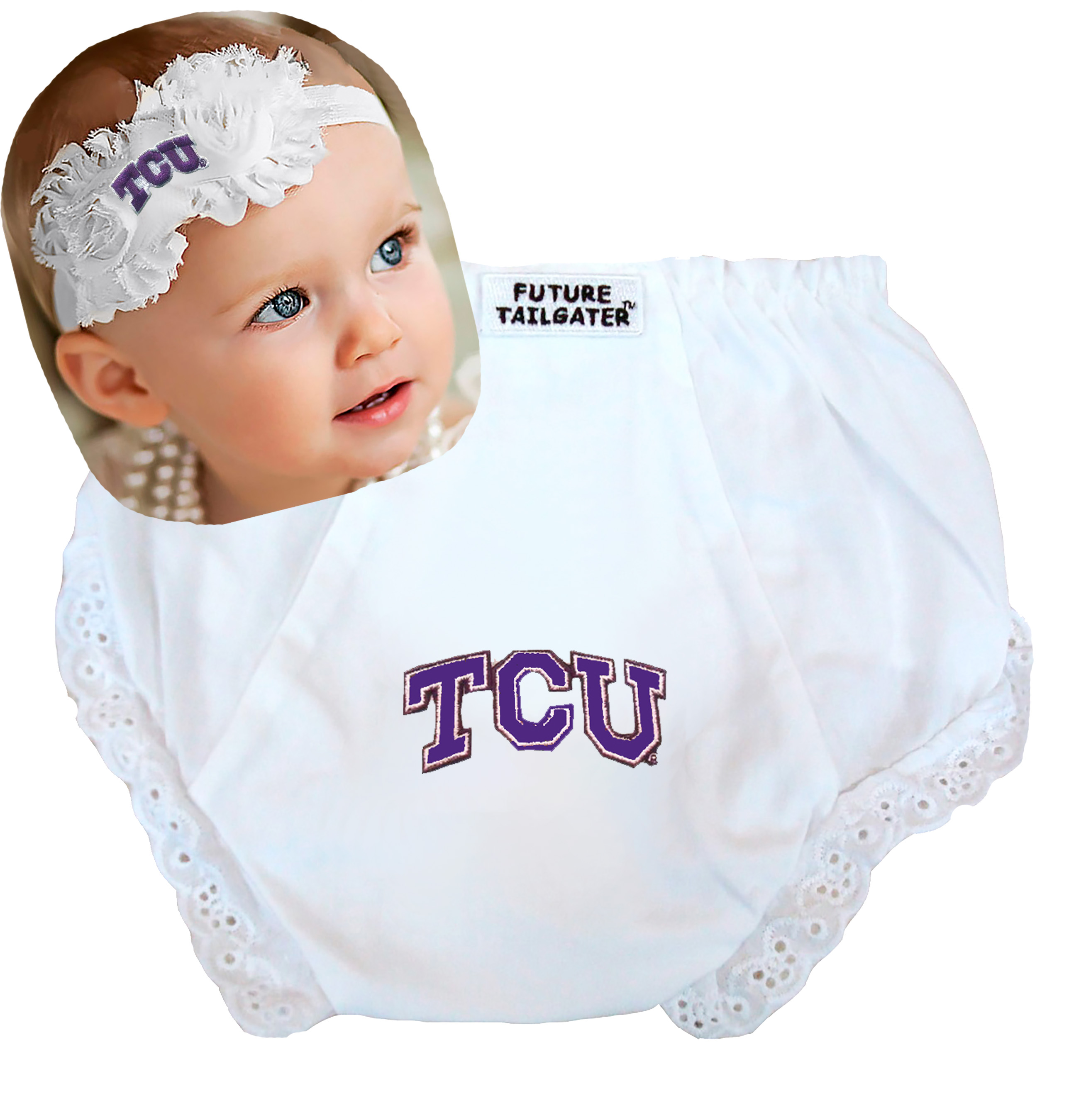 Texas Christian TCU Horned Frog Baby Diaper Cover and Shabby Flower Headband Set