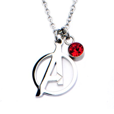 Marvel Avengers Logo Cut Out and Red CZ Pendant Stainless Steel - Avengers Cut Out