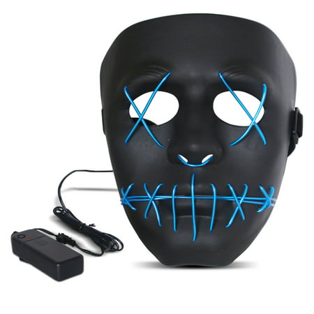 Halloween LED Mask Purge Masks with Lighten EL Wires Scary Light Up Cosplay Costume Mask Battery-operated Glowing Creepy Mask Black with Blue Wrie - The Purge Movie Halloween Mask