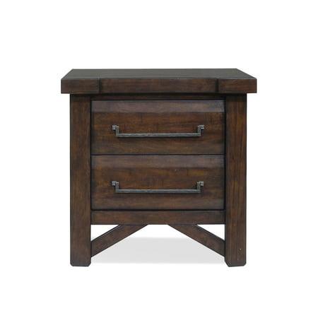 Steve Silver Co. Timber 2 Drawer Nightstand Bedroom Brass Nightstand