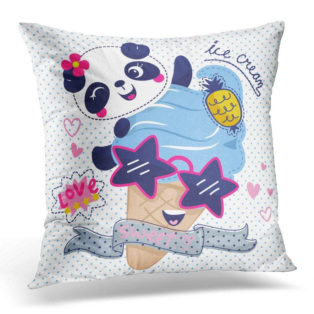CMFUN Adorable Cartoon Cute Panda Girl with Ice Cream Wearing Sunglasses on Polka Dot Animal Throw Pillow Case Pillow Cover Sofa Home Decor 16x16 Inches
