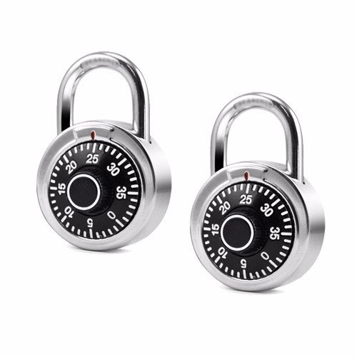 """Wideskall® 2"""" inch 3 Digit Locker Round Fixed Dial Combination Padlock (Pack of 2)"""