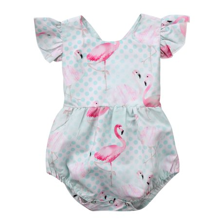Infant Baby Girls Ruffle Flamingo Romper Jumpsuit Summer Outfits](Baby Flamingos)