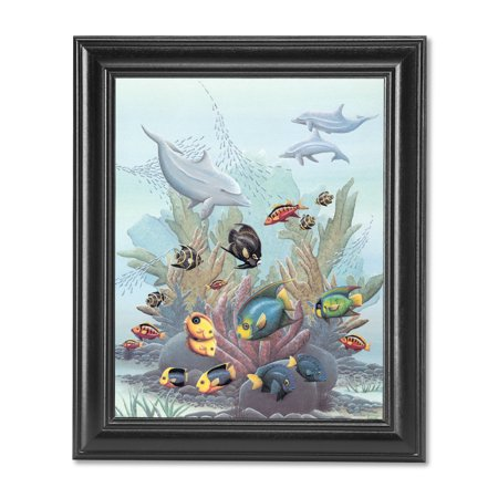 Exotic Fish w/ Dolphins in Ocean Coral Reef Wall Picture Black Framed