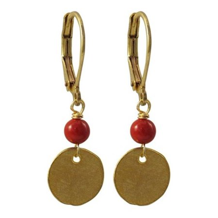 4 mm Ball & 10 mm Red Round Coin with Gold Plated Brass Lever Back Earrings
