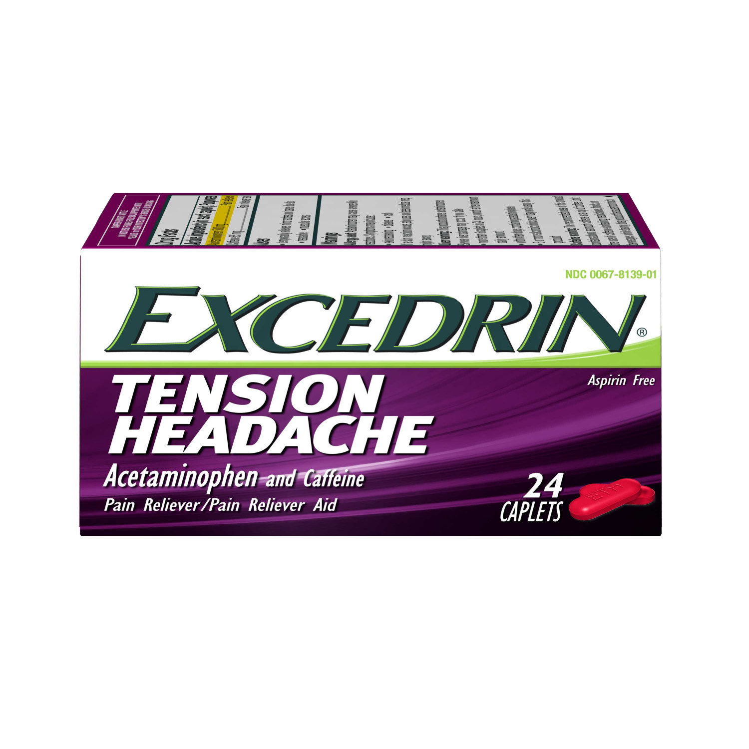 Excedrin Tension Headache Aspirin-Free Caplets for Head, Neck, and Shoulder Pain Relief, 24 count