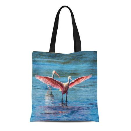 JSDART Canvas Tote Bag Sanibel Roseate Spoonbill Acryli Hd Island Florida Bird Birding Reusable Handbag Shoulder Grocery Shopping Bags - image 1 of 1