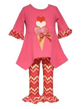 Baby Girl 3M-24M Heart Ice Cream Cone Tunic-Dress/Legging Set, Bonnie Jean