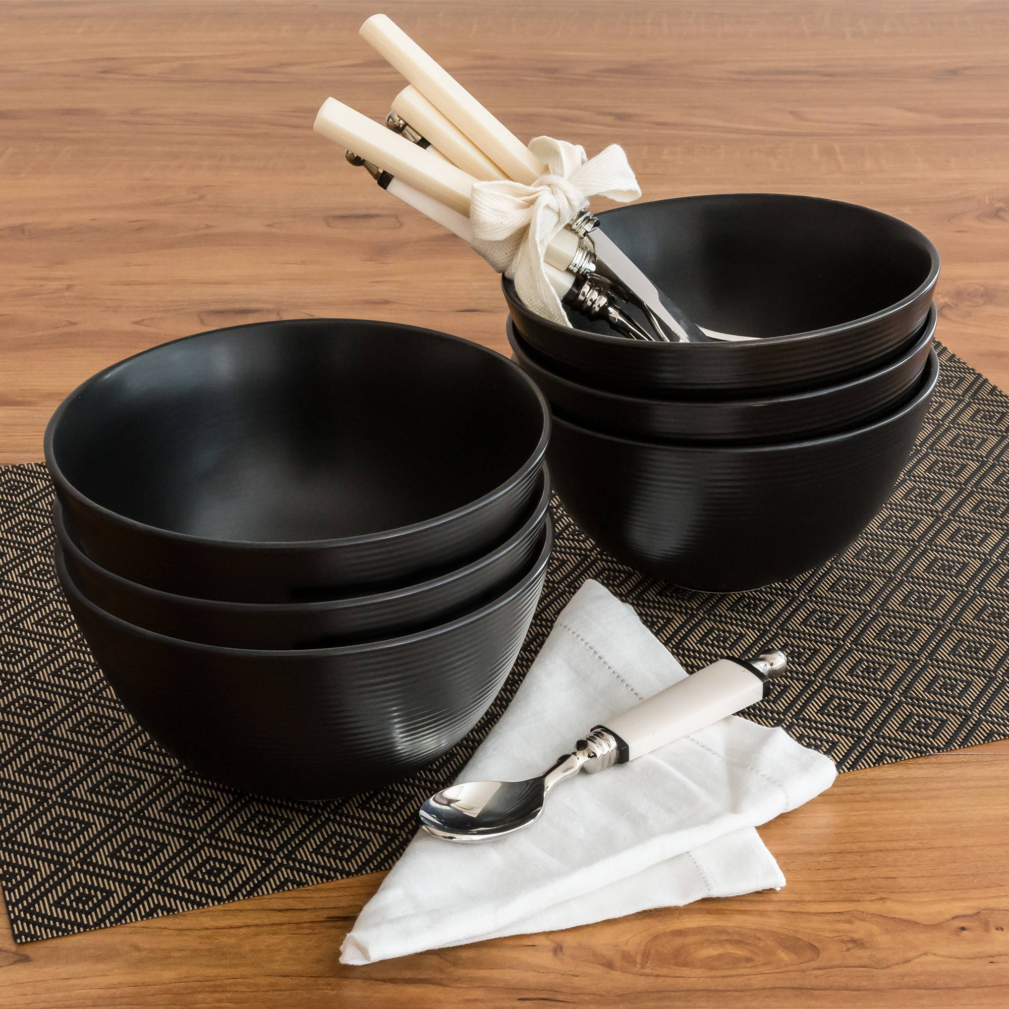Better Homes and Gardens Matte Swirl Bowls, Black, Set of 6