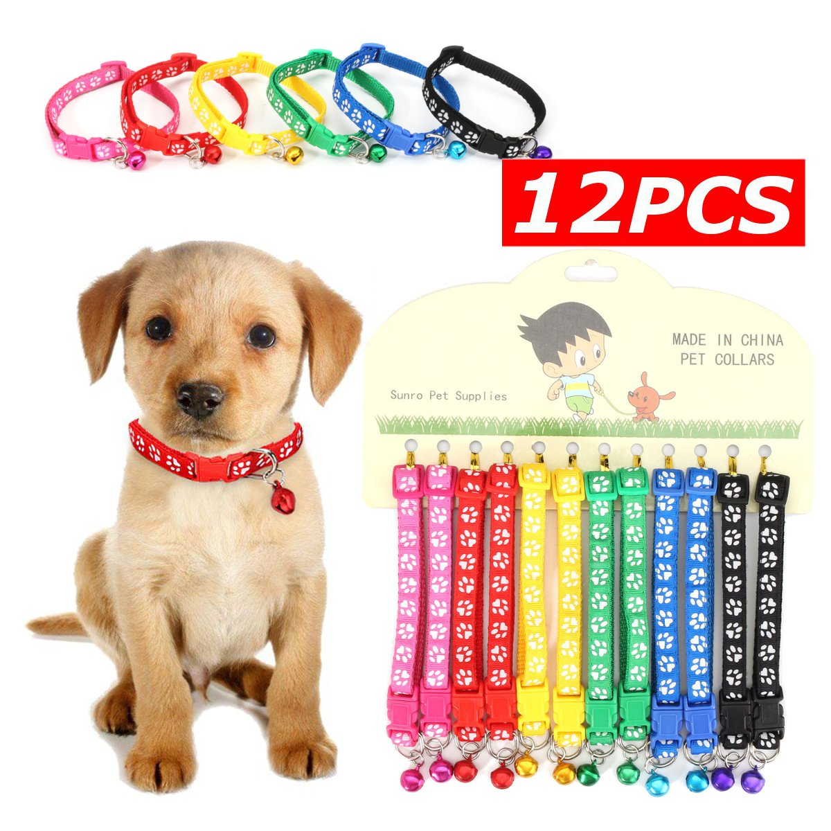 12Pcs Collars Pet Cat Nylon Collar with Bell Necklace Buckle Wholesale 6 Colors