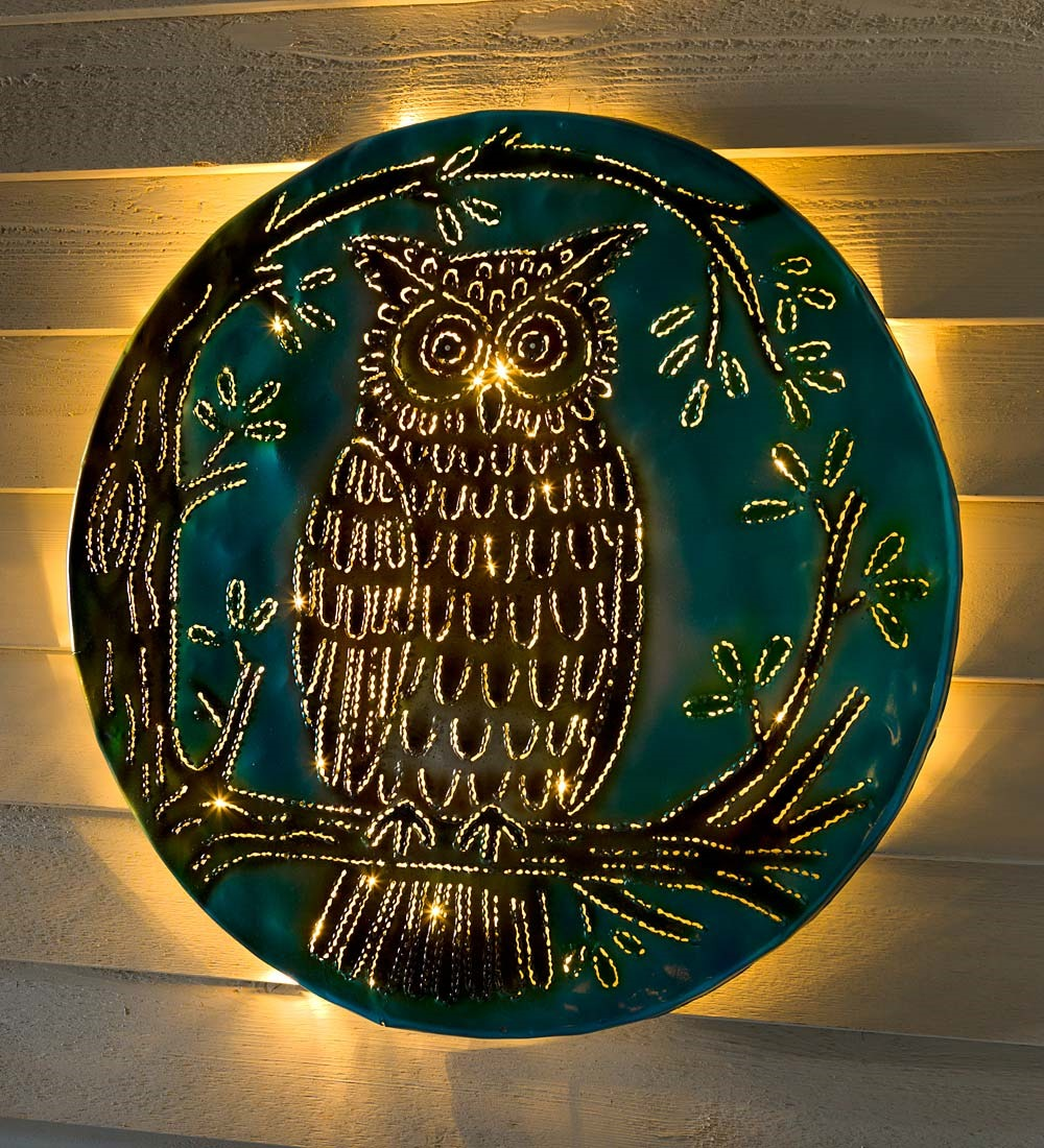 Lighted Owl Recycled Oil Drum Lid Wall Art