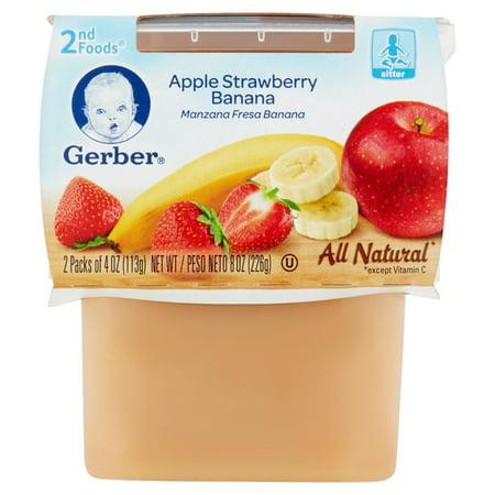 Gerber 2nd Foods Apple Strawberry Banana Sitter 2 X 4oz 8