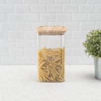 HB BPA-Free Square Plastic 2.3 LT Canister with Air-tight Bamboo Lid