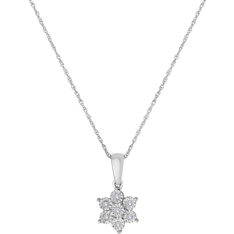 1/20 Carat T.W. Sterling Silver Snowflower Pendant