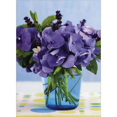 Avanti Press Purple Hydrangeas In Blue Jar Blank Note Card (Hydrangea Note)