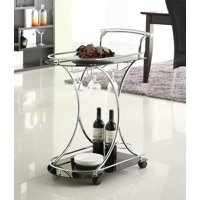Coaster Furniture Glass Top 3 Bottle Bar and Serving Cart, Silver