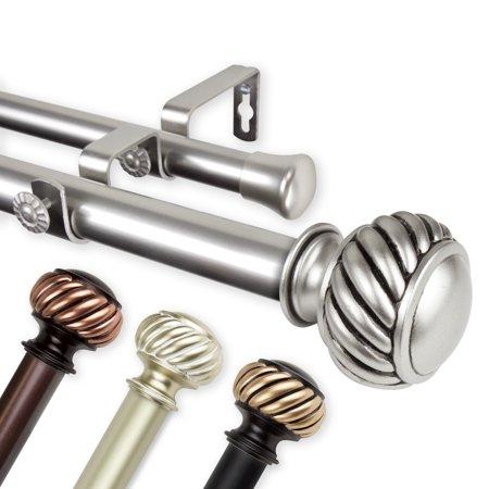 "Baldir Double 1"" dia. Curtain Rod 160-240 inch - Satin Nickel"
