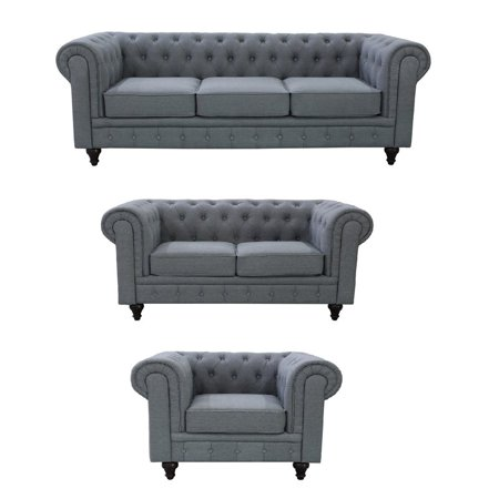 US Pride Furniture Yelegancia Tufted Back Chesterfield 3 Piece Living Room Set, Gray