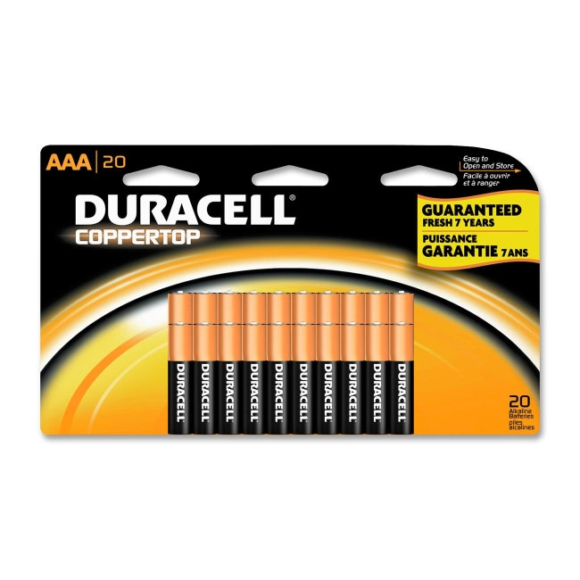 Duracell CopperTop Alkaline AAA Battery - AAA - Alkaline - 20 / Pack
