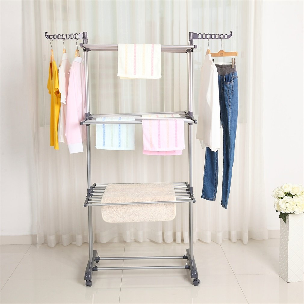 Zimtown Foldable Rolling Clothes Drying Rack Laundry Cloth Shoes Hanger Garment Stand With Wheels