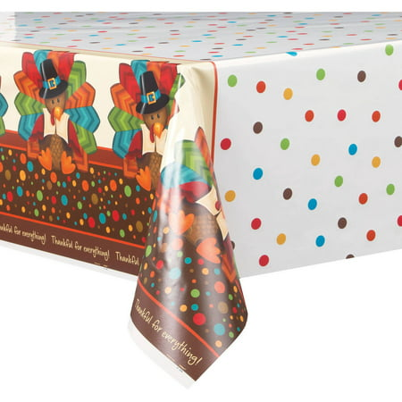 (4 pack) Cute Turkey Thanksgiving Plastic Tablecloth, 84 x 54 in, 1ct