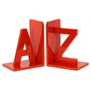 "2-Pc Wood Alphabet Sculpture ""AZ"" Bookend in Red Orange"