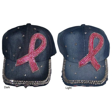 Breast Cancer Awareness Pink Ribbon Baseball Caps Hats Rhinestones (WomCap4 Z) Breast Cancer Baseball Caps