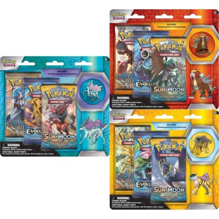 The Pokemon PKU80295 Pokemon Legacy Evolution Pin Blister Give Your Collection a Boost! Power up your Pokemon TCG collection with 3 booster packs, and show your Pokemon pride with 1 of 3 awesome Pokemon collector's pins: Raikou, Entei, or Suicune! Includes: 3 Pokemon TCG booster packs, 1 of 3 Pokemon collector's pins featuring a Legendary Pokemon.