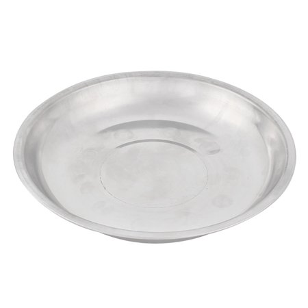 Kitchen Stainless Steel Round Shaped Dish Plate Silver Tone 19cm Diameter