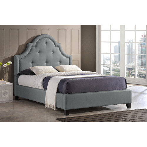 Baxton Studio BBT6433-Grey-Full Colchester Modern Platform Bed with Scalloped Button Tufted Headboard  Silver Nail Head Trim  Tapered Legs and Fabric Upholstery