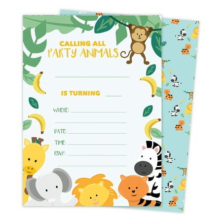 Zoo 3 Animals Happy Birthday Invitations Invite Cards (25 Count) With Envelopes & Seal Stickers Vinyl Girls Boys Kids Party](Kids Invitations)