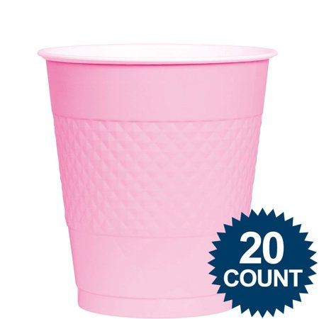 Pink Plastic Cups, 12 Oz. (20 Count) - Pink Plastic Cups