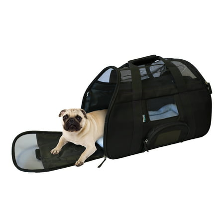 KritterWorld Portable Comfort Soft Sided Airline Approved Pet Travel Carrier Bag for Dog/Cat Small Animals Tote w/ Built-in Collar Buckle & Removable Fleece Bed
