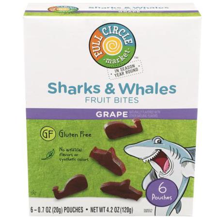 Full Circle, Sharks & Whales Fruit Bites, Real Fruit Snacks, Grape ()