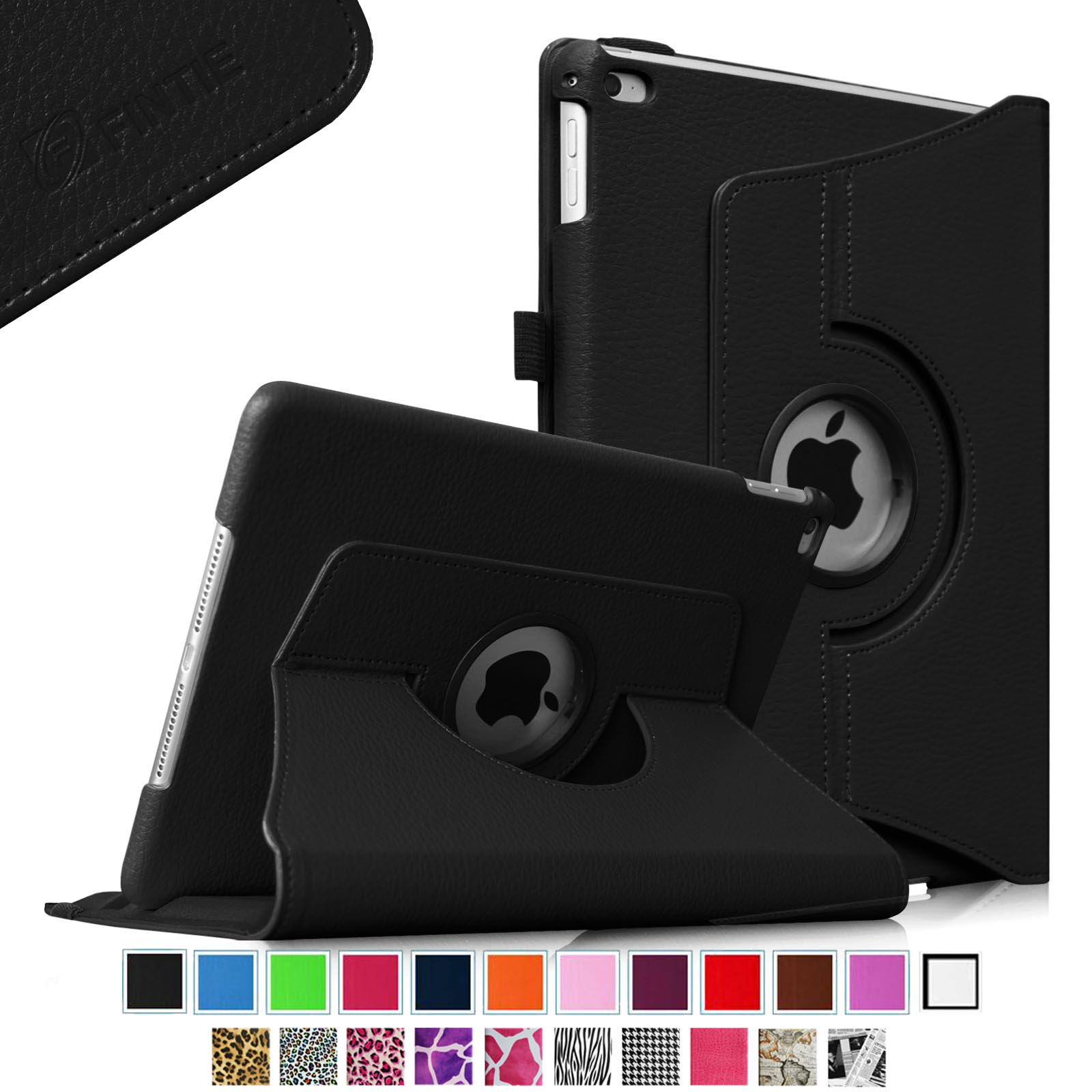Fintie iPad Air 2 Case - 360 Degree Rotating Stand Case with Smart Cover Auto Sleep / Wake Feature, Black