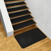 Set of 15 Skid-Resistant Carpet Stair Treads and Matching Landing Rug - Black