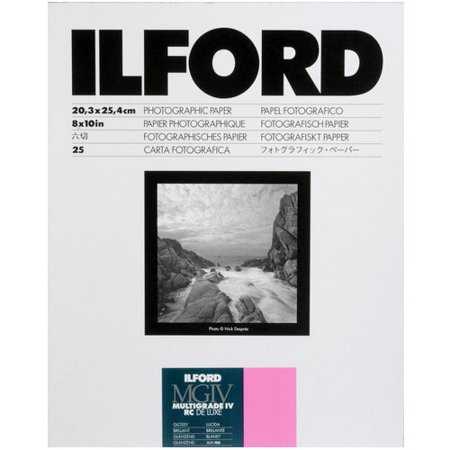 Ilford Multigrade IV Resin Coated RC DE LUXE 8 x 10 Paper (25 Sheets - Glossy) (Black And White Paper)