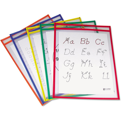 "C-Line Reusable Dry Erase Pockets, 9"" x 12"", Assorted Primary Colors"