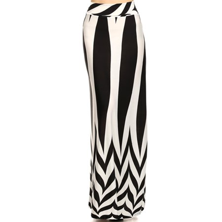 Black and White Striped with Zig Zag Pattern Maxi Skirt, Size Medium