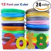 3D Pen/3D Printer Filament,1.75mm PLA filament Pack of 24 Different Colors, High-Precision Diameter Filament, Each color 10 Feet, Total 240 Feet Lengths