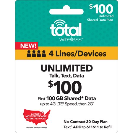 Total Wireless $100 Shared* Family Plan (Email (Best Wireless Plans For 2)