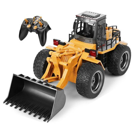 Top Race 6 Channel Full Functional Front Loader, RC Remote Control Construction Tractor with Lights and Sounds 2.4Ghz -