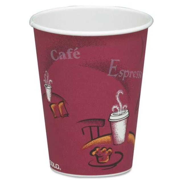 Solo Cup 378SI Bistro Design Hot Drink Cups Paper, 8 oz. Maroon