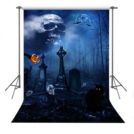 HelloDecor Polyster Halloween Background 5x7ft Scary Haunted Cemetery Scene Photography Backdrop Photo Shooting Props